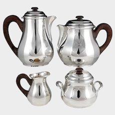 Art Deco French Sterling Silver 4pc Tea / Coffee Set, Teapot & Coffee Pot