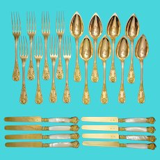 Antique French Sterling Silver 24pc Flatware Set, Pearl Handled Knives, Gold Vermeil Louis-Philippe Era c.1840