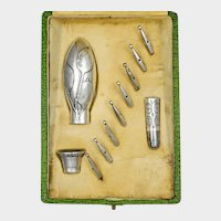 Antique French .800 Silver Parasol Handle Umbrella Set, Dress Cane Handle, Art Nouveau Motif