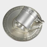 Antique French Sterling Silver Cup & Saucer Set, Guilloche Engraving=