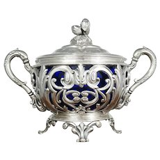 Antique French Sterling Silver Sugar Bowl, Cobalt Blue Glass, Ornate Reticulated
