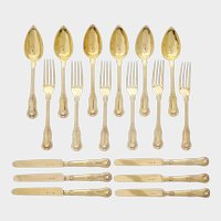 Antique French Sterling Silver 18pc Flatware Set, Knives, Gold Vermeil
