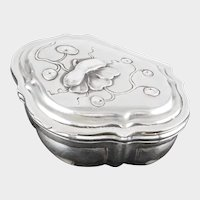 Antique French Sterling Silver Hinged Box by Paul Tallois, Gilt Vermeil Interior, Tabatiere Pill or Patch Box