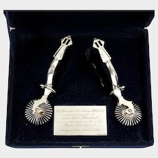 Vintage Hand Made .900/1000 Silver Chilean Chile Cowboy Huasos Spurs, Original Box