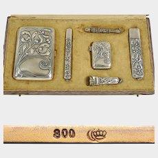 Art Nouveau German 800 Silver Smoker's Set, Cigarette Case, Vesta Match Safe, Cigar Cutter