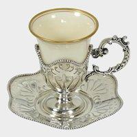 Antique Sterling Silver Cup & Saucer Set Lenox Porcelain Insert Holder, Mauser Mfg. Co NY
