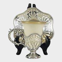 Antique Sterling Silver Cup & Saucer Set Lenox Porcelain Insert, Mauser Mfg. Co NY