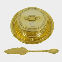Antique French Sterling Silver Gold Vermeil Cheese or Butter Serving Dish, Beurrier, & Spread Knife
