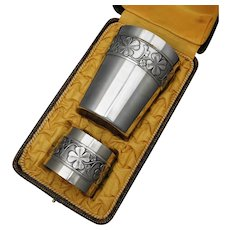 Art Deco French Sterling Silver Tumbler Cup & Napkin Ring Boxed Set, Clover Motif