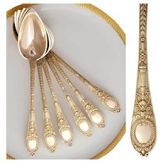 Antique French Sterling Silver Gilt Vermeil Set of 6 Spoons, Neoclassical Motif