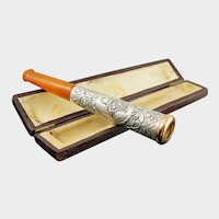 Antique French Silver Mounted Amber Cigarette or Cheroot Holder & Case, Etui