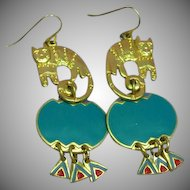 Edgar Berebi Whimsical Gold Tone Cats Enamel Pierced Earrings
