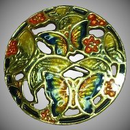 Cloisonne Unique Open Work Design Butterflies Floral Enamel Big Round Pin Brooch