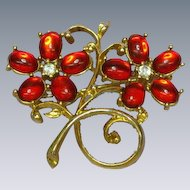 Gripoix Ravishing Red Poured Glass Cabochon Vintage Brooch Pin