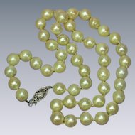 Akoya Creamy White Cultured Pearls 14K White Gold Sweetheart Vintage Necklace