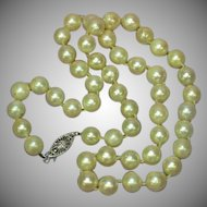"Akoya Creamy White Cultured Pearls 14K White Gold 16"" Sweetheart Vintage Necklace"