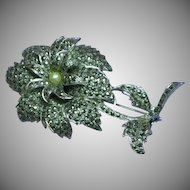 Art Deco Floral Bouquet Marcasite Glass Faux Pearl Brooch Pin
