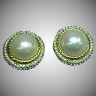 CHRISTIAN DIOR Designer Signed Large  Faux Glass Pearl Crystal Rhinestone Clip Earrings