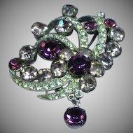 Eisenberg Signed Lavender and Purple Rhinestones Rhodium Plated Pin Brooch