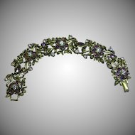 Coro Designer Signed Purple Rhinestone Antiqued (darkened) Gold Bracelet