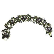 Coro Designer Signed Purple Rhinestone Antiqued (darkened) Gold Bracelet