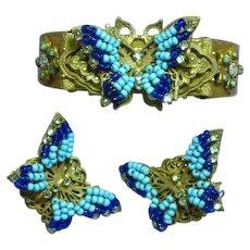 Miriam Haskell Signed Bead Rhinestones Bracelet Earrings Set Demi Parure