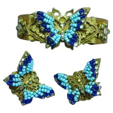 Miriam Haskell Signed Magnificent Blue Glass Bead Rhinestones Russian Gold Plate Bracelet Earrings Set Demi Parure