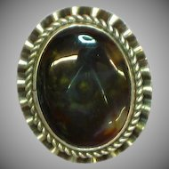 Native American Indian Marbled Gemstone Fire Agate Sterling Silver Sensational Ring