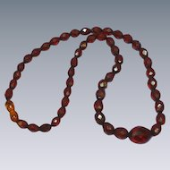 Faceted Cherry Amber Color Bakelite Graduated Bead Necklace