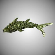 Rhinestone Antiqued Gold Tone Figural Fish Pin Brooch