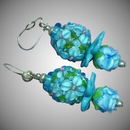 Lampwork Art Glass Beads Sterling Silver Wire Pierced Earrings