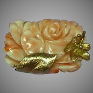 14K Yellow Gold Floral Frame with Hand Carved Coral Blossom Pin Brooch Pendant