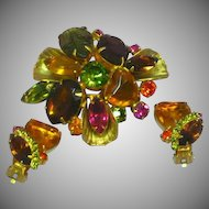 Rhinestones Multicolor Faceted Cabochons Heart Art Glass Prong Set Domed Designer Brooch Pin Clip Earrings Set Demi Parure