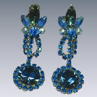 Juliana D&E Blue Crystal Volcano Rivoli Rhinestone Long Dangle Clip Earrings
