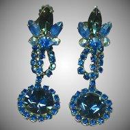Juliana D&E Blue Crystal Volcano Rivoli Rhinestone Long Dangle Clip Earrings