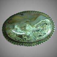 Beautiful Mesmerizing Large Moss Agate Sterling Silver Pin Pendant Brooch