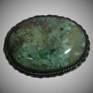 Beautiful Mesmerizing Large Moss Agate Sterling Silver Pin Brooch