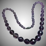 Rich Amethyst Graduated Faceted Czech Bead Necklace