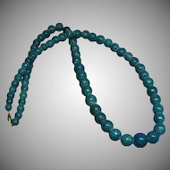 Sponge Coral Denim Blue Enhanced Vintage Graduated Necklace