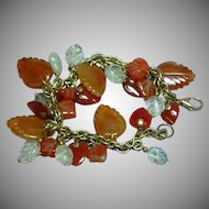 Gemstones Mixed Agate Carnelian Rock Crystal Carved Leaves Hearts Charm Bracelet