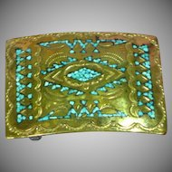 Nakai Original Navajo Indian Handmade Turquoise Inlay Belt Buckle