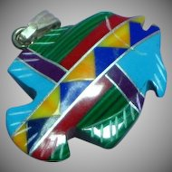 Native American Indian Carved Inlay Stone 3 Dimensional Fish Figural Sterling  Necklace  Pendant