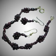 Genuine Garnet Matching Bracelet and Pierced Earrings Set Demi Parure