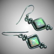 Sterling Silver Wonderful Lab Grown Opal Pierced Earrings