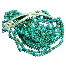 Native American Navajo Maiden Wrap Six (6) Strand Turquoise Nugget Hand Knotted Necklace