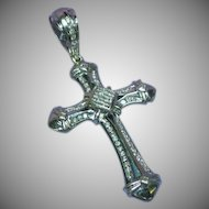 14 Kt White Gold Diamond Large Cross Necklace Pendant