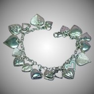 18 Puffy Hearts  Charming and Sweet Sterling Silver Charm Bracelet