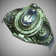 Genuine Amethyst Vintage Etruscan Style Sterling Silver Poison Ring