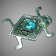 Native American Indian Turquoise Marked Signed Hartmans Horney Toad Figural  Pin Brooch