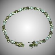 Beautiful Sterling Silver Vermeil Simulated Diamond Bracelet